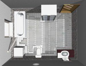 Tloris kopalnice, prikaz  nameščene talne grelne mreže  BVF h-mat